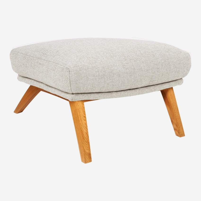 Footstool in Lecce fabric, nature with oak legs
