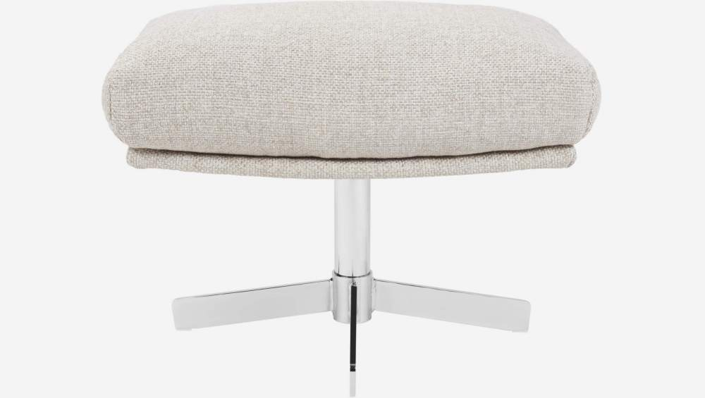 Footstool in Lecce fabric, nature with metal cross leg