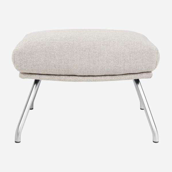Footstool in Lecce fabric, nature with matt metal legs