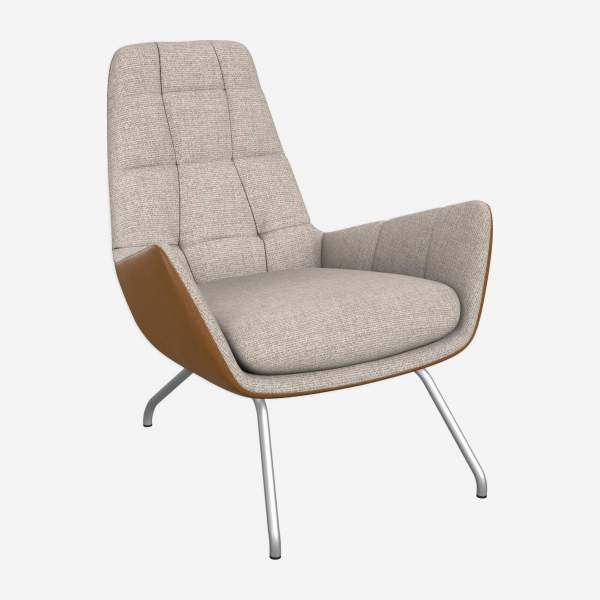 Armchair in Lecce fabric, nature and cognac vintage leather with matt metal legs