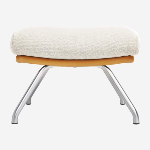 Footstool in Ancio fabric, nature et cuir marron with matt metal legs