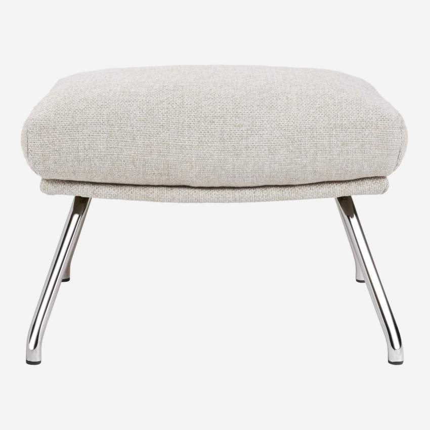 Footstool in Lecce fabric, nature with chromed metal legs