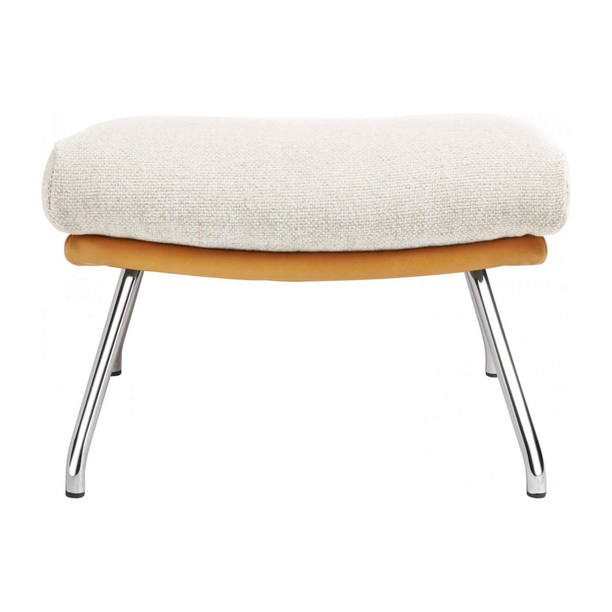 Footstool in Ancio fabric, nature et cuir marron with chromed metal legs n°1