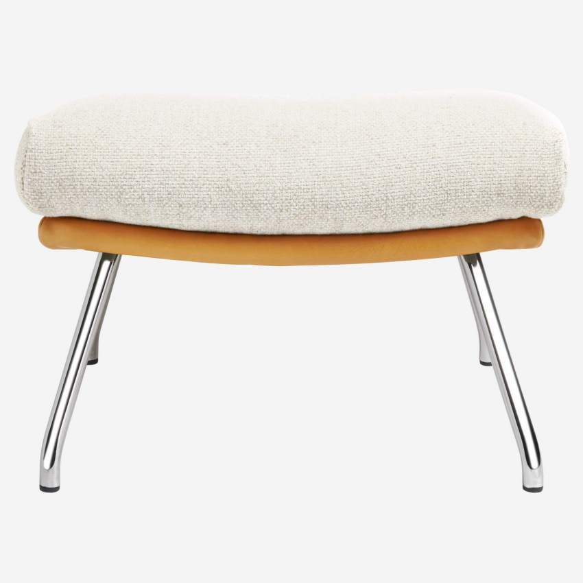 Footstool in Ancio fabric, nature et cuir marron with chromed metal legs