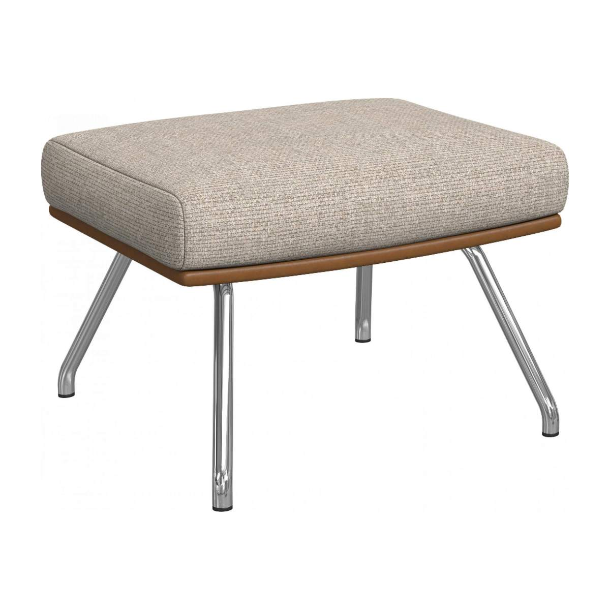 Footstool in Ancio fabric, nature et cuir marron with chromed metal legs n°2