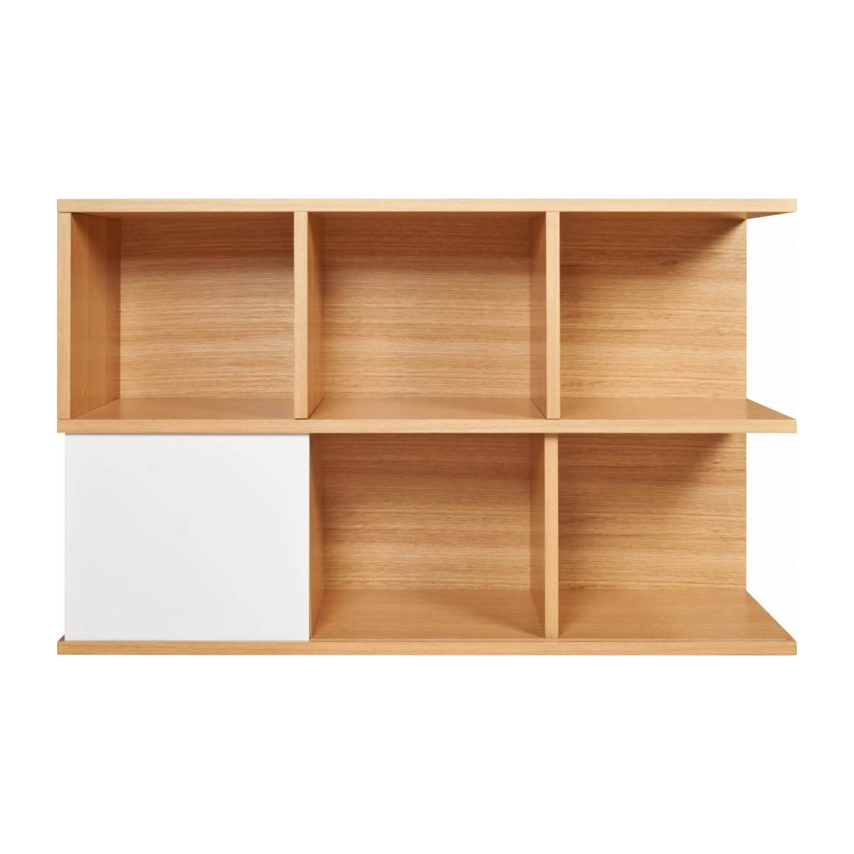 Low bookcase, oak and white n°1
