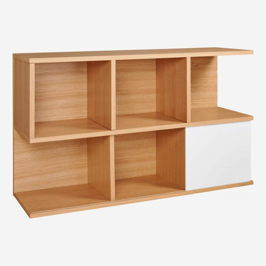 Low bookcase, oak and white