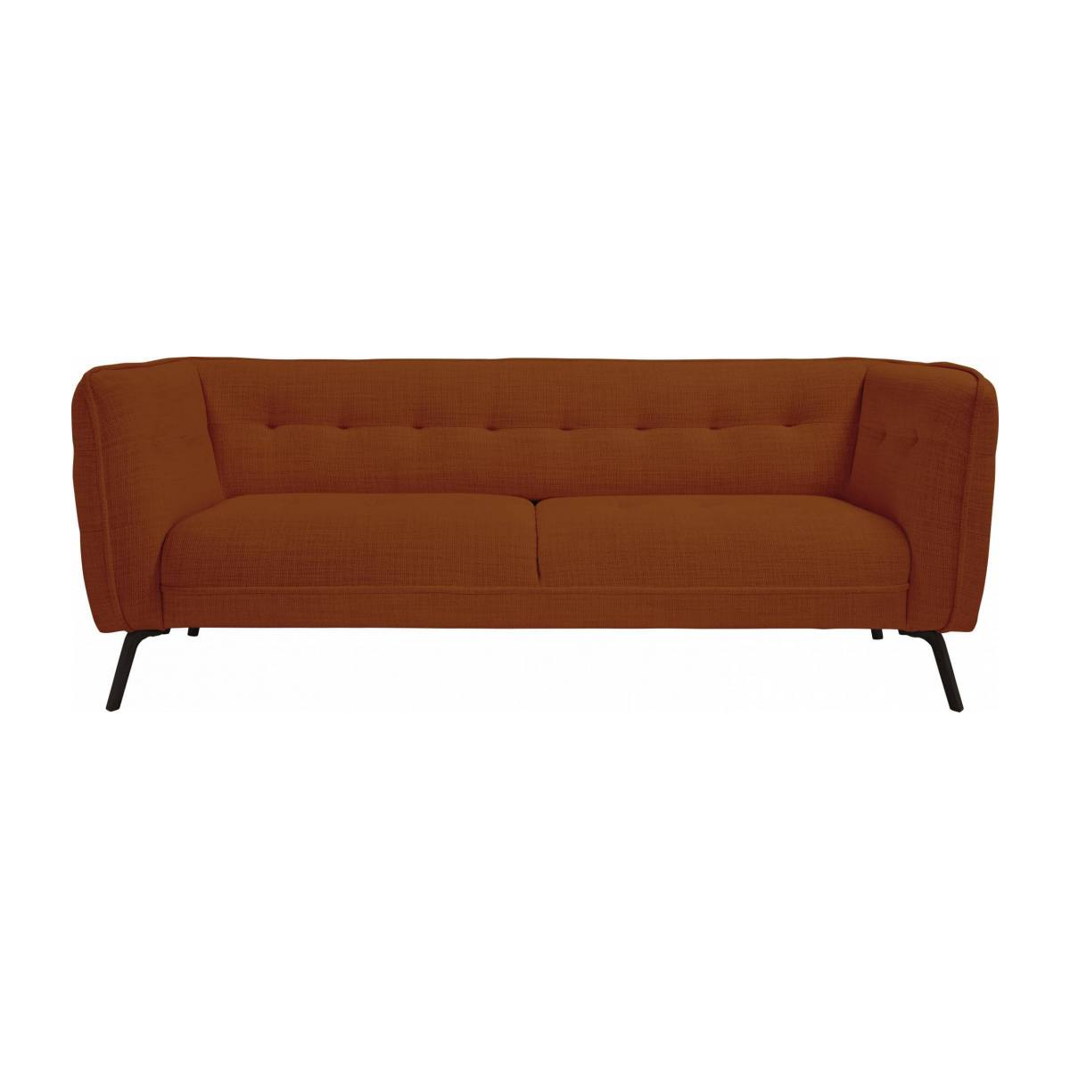 3 seater sofa in Fasoli fabric, warm red rock and dark legs n°1