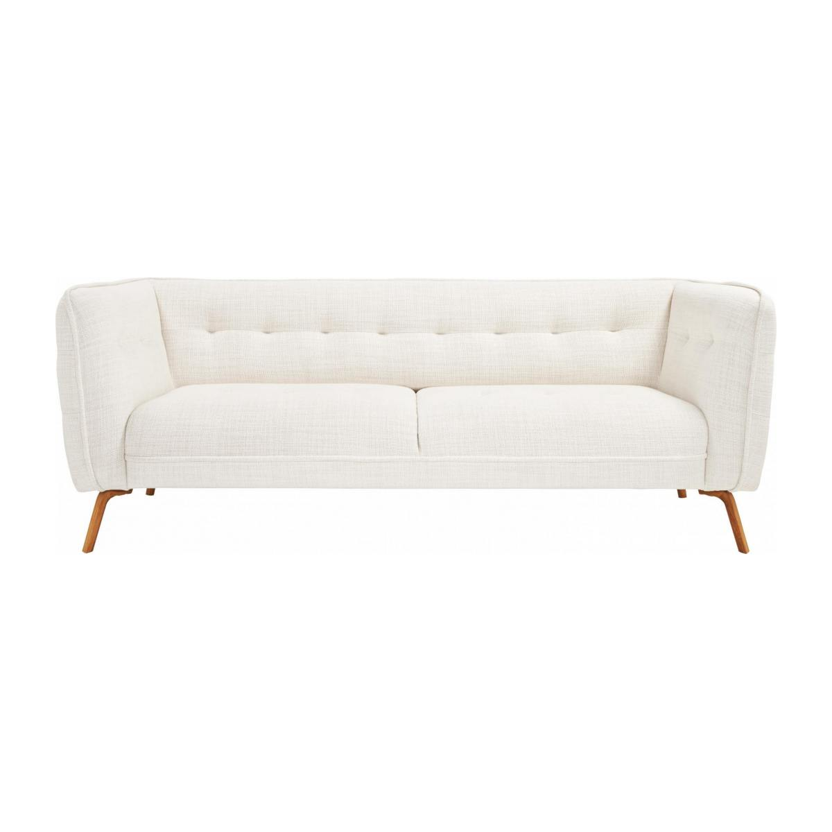 3 seater sofa in Fasoli fabric, snow white and oak legs n°1