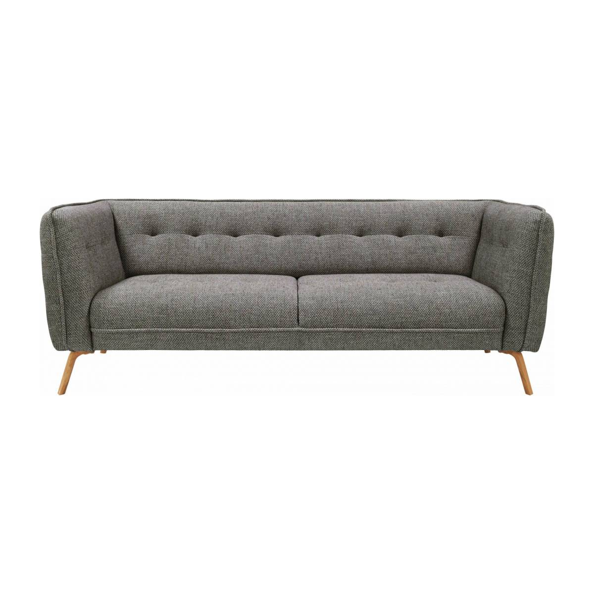 3 seater sofa in Bellagio fabric, night black and oak legs n°1