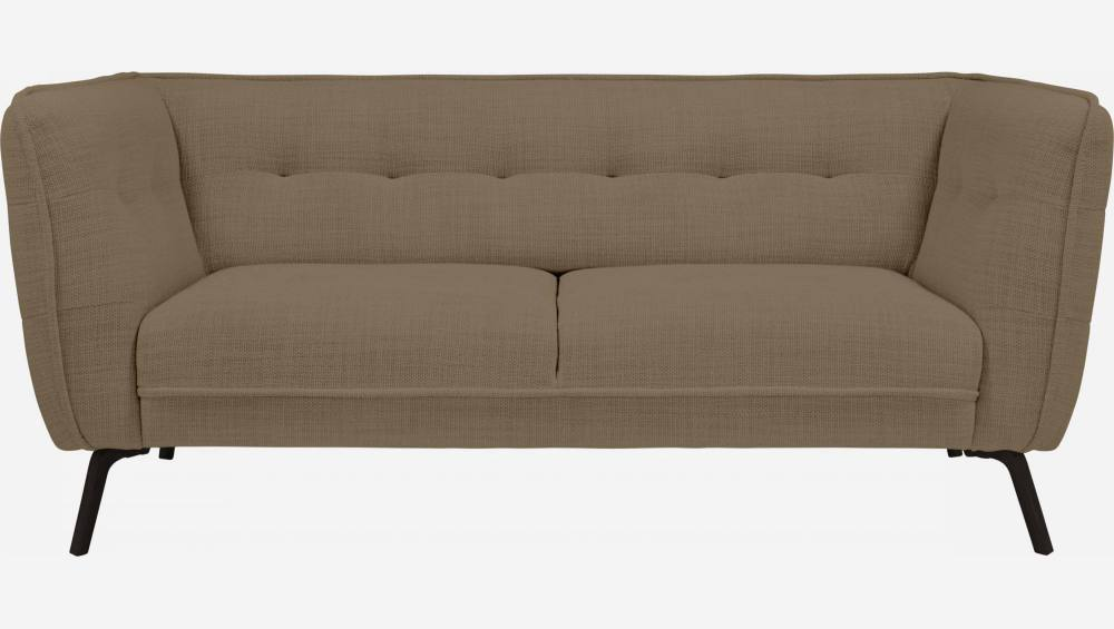2 seater sofa in Fasoli fabric, jatoba brown and dark legs