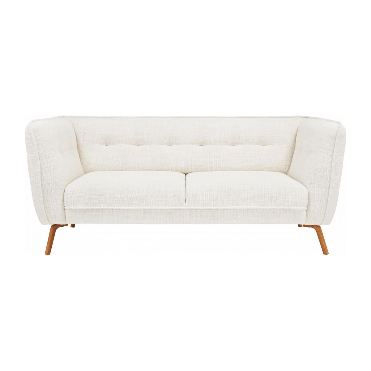 2 seater sofa in Fasoli fabric, snow white and oak legs n°1