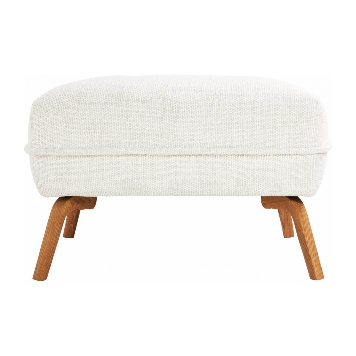 Footstool in Fasoli fabric, snow white and oak legs n°1