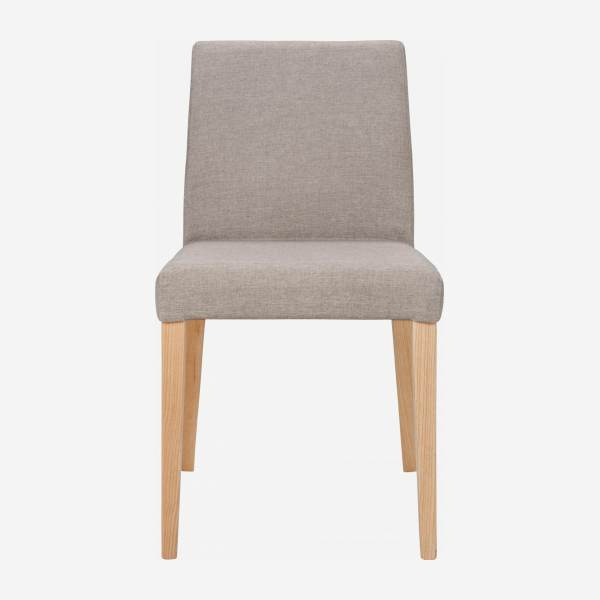 Chair made of fabric, beige with ash legs