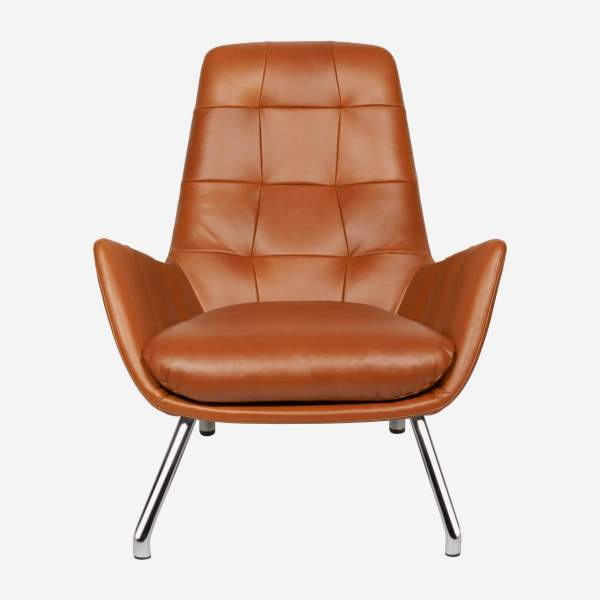 Armchair in Vintage aniline leather, old Chestnut with chromed metal legs