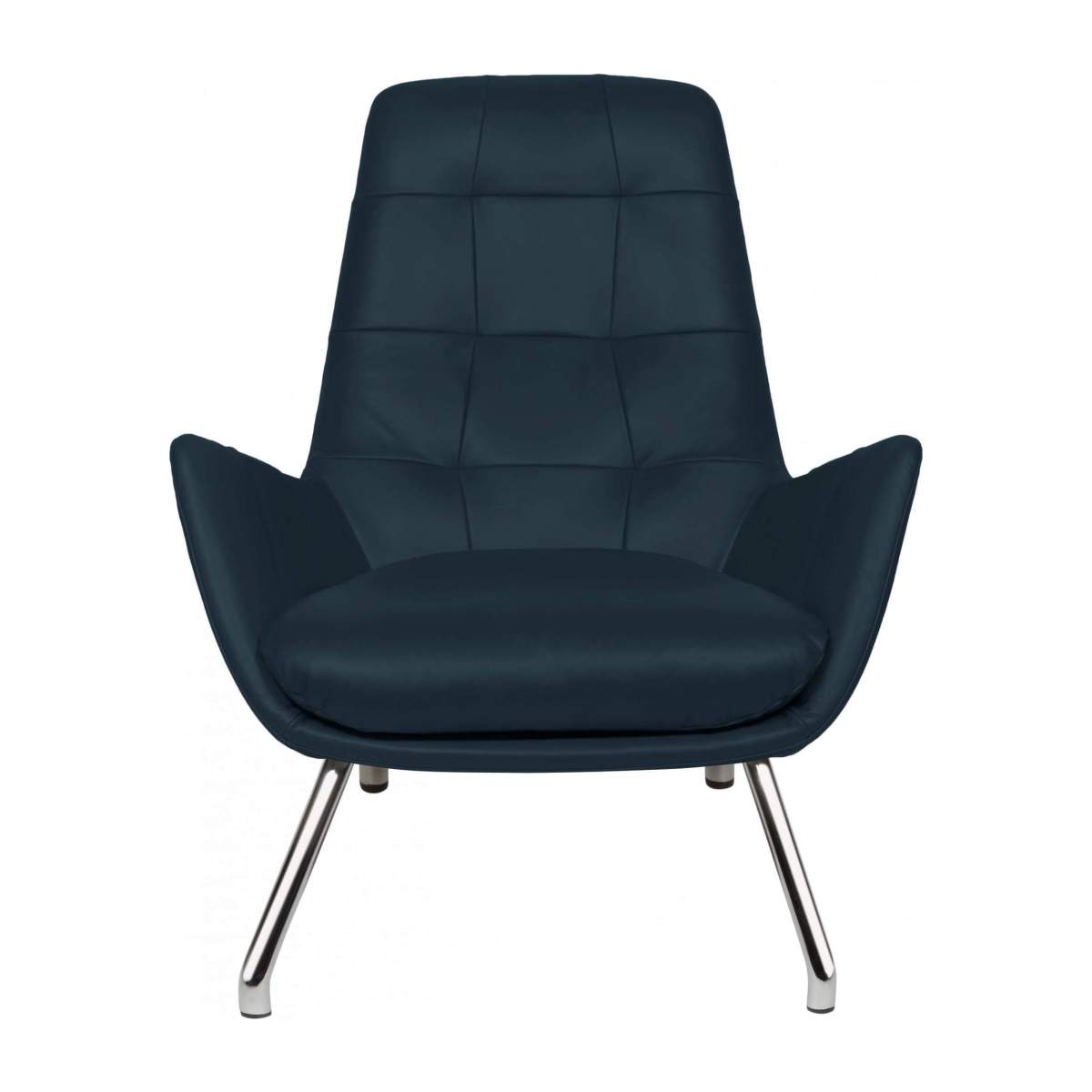 Armchair in Vintage aniline leather, denim blue with chromed metal legs n°1
