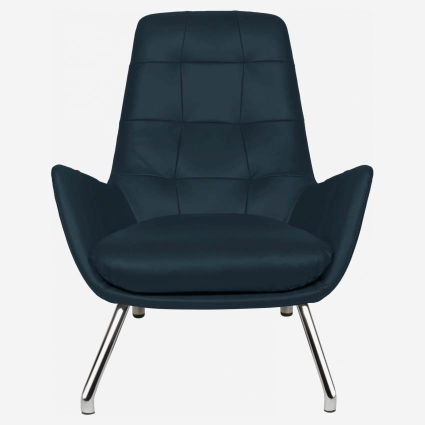Armchair in Vintage aniline leather, denim blue with chromed metal legs