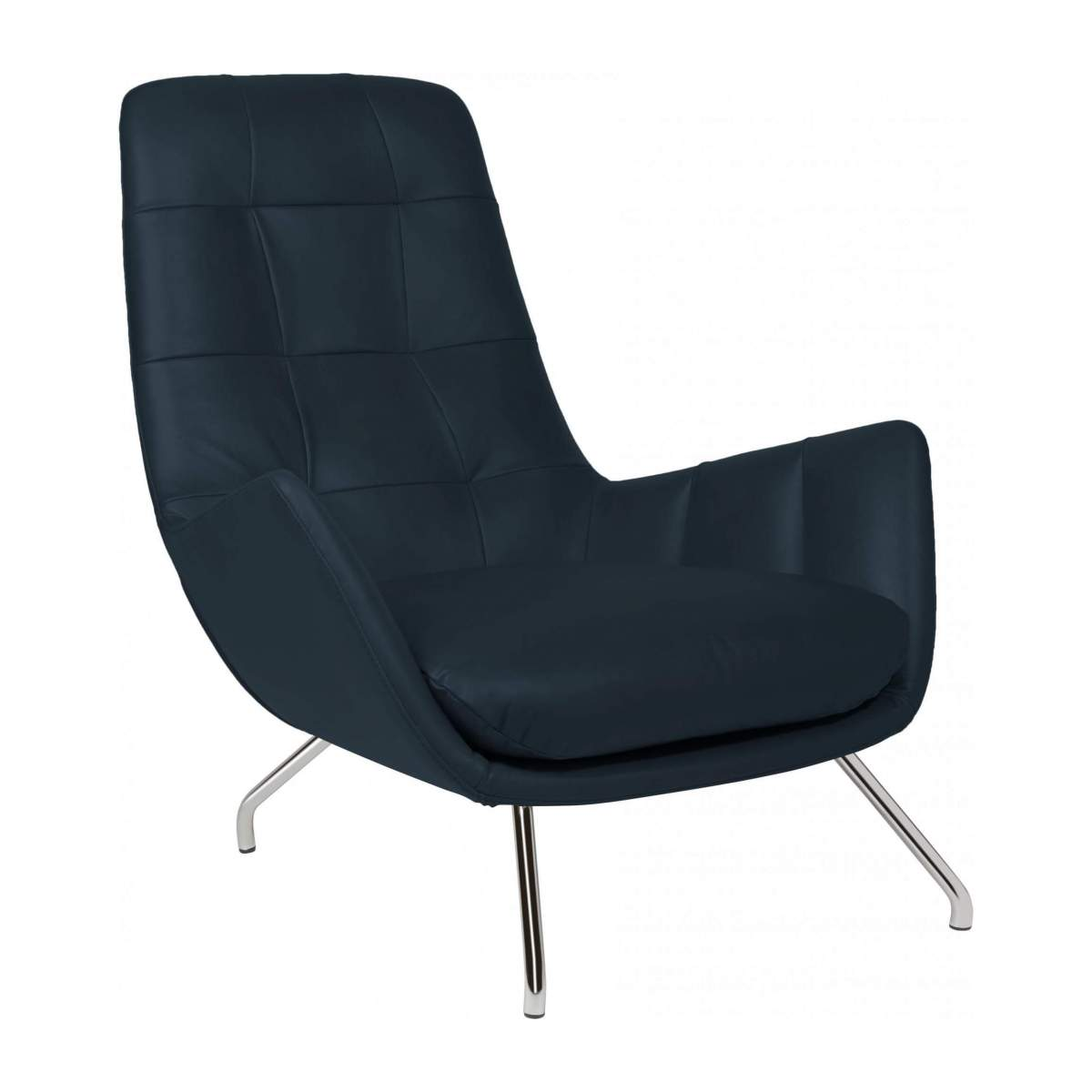 Armchair in Vintage aniline leather, denim blue with chromed metal legs n°2