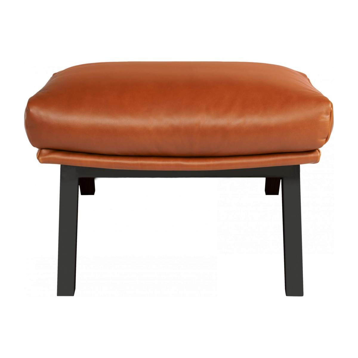 Footstool in aniline Vintage Leather, old chestnut with dark legs n°1