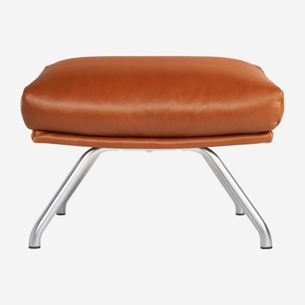 Footstool in aniline Vintage Leather, old chestnut with matt metal legs