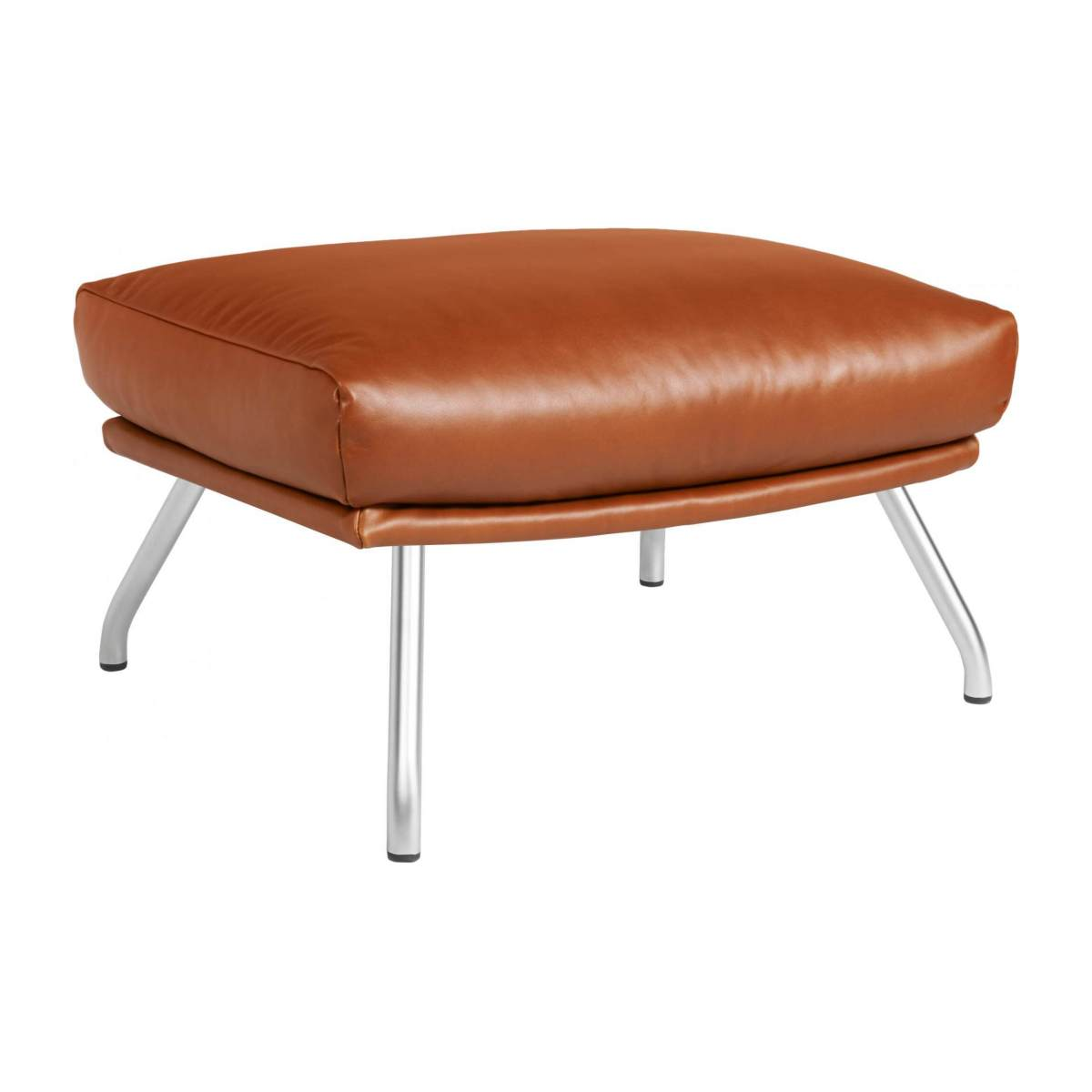 Footstool in aniline Vintage Leather, old chestnut with matt metal legs n°2