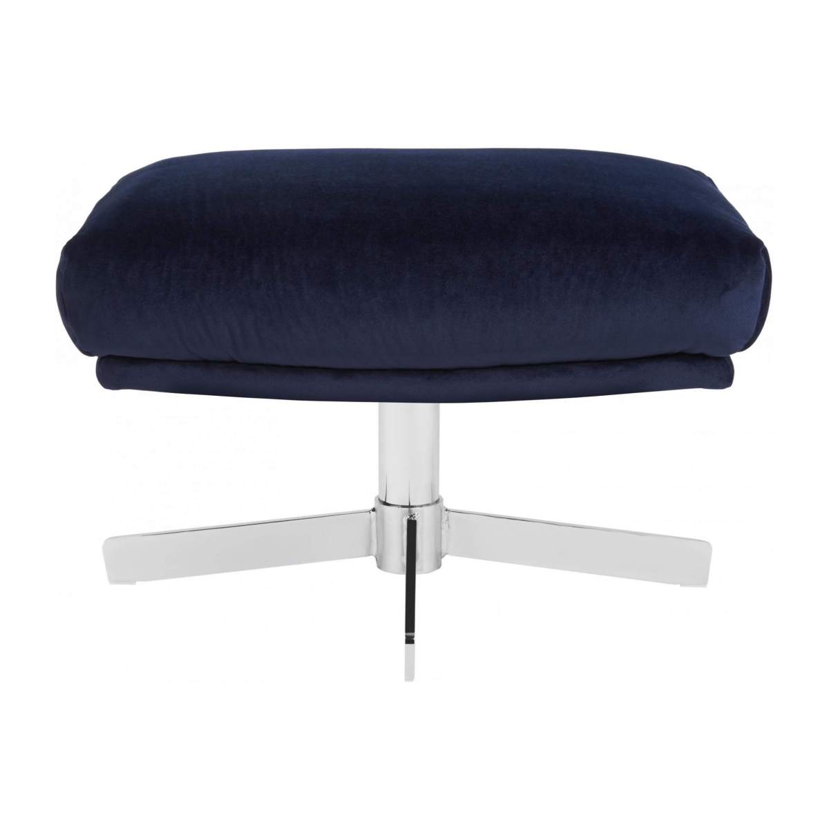 Footstool in Super Velvet fabric, dark blue with metal cross leg n°1