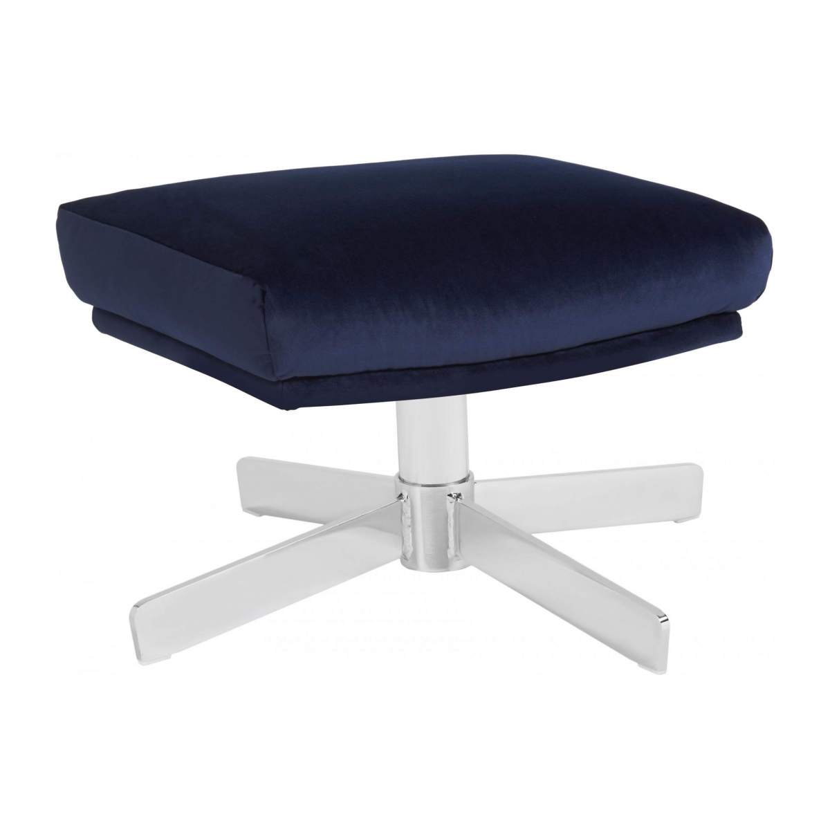 Footstool in Super Velvet fabric, dark blue with metal cross leg n°2