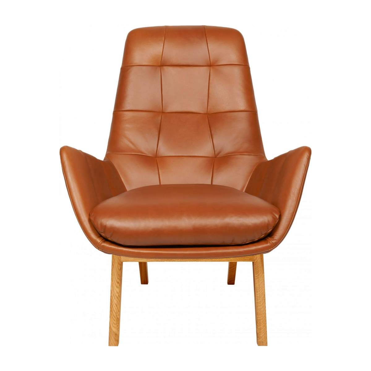 Armchair in Vintage aniline leather, old Chestnut with oak legs n°1