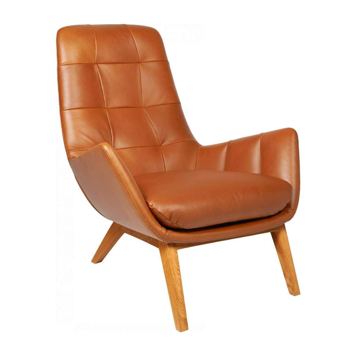 Armchair in Vintage aniline leather, old Chestnut with oak legs n°2