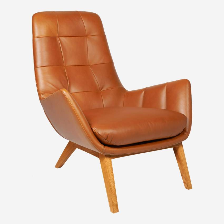 Armchair in Vintage aniline leather, old Chestnut with oak legs