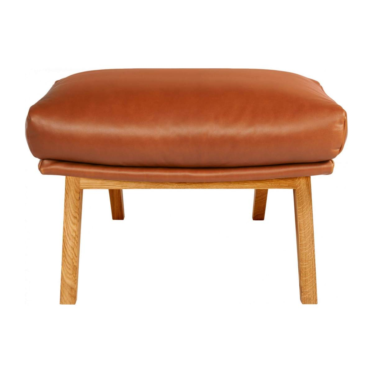 Footstool in aniline Vintage Leather, old chestnut with oak legs n°1