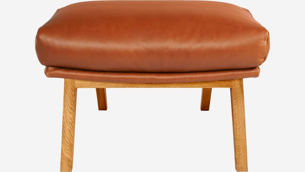 Footstool in aniline Vintage Leather, old chestnut with oak legs