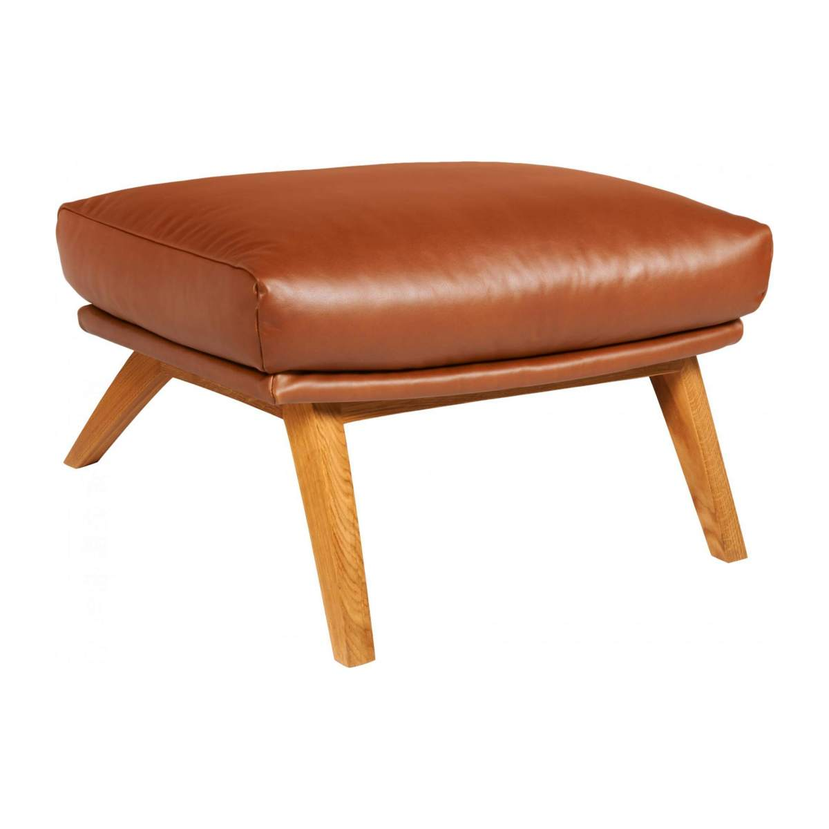 Footstool in aniline Vintage Leather, old chestnut with oak legs n°2