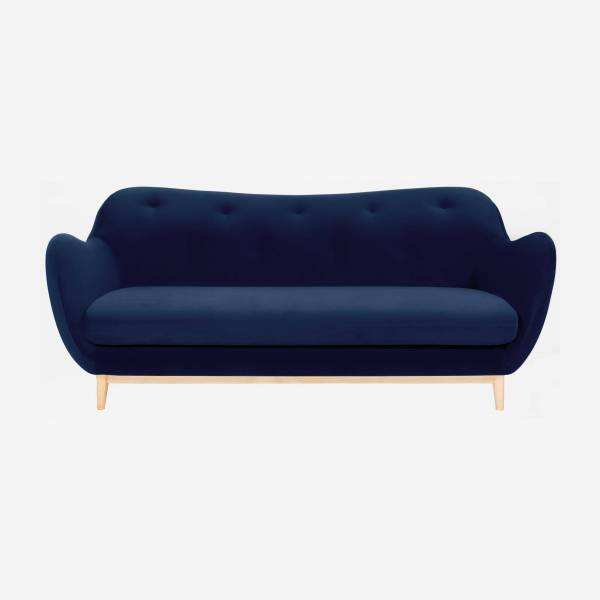 3-seat sofa made of velvet, blue