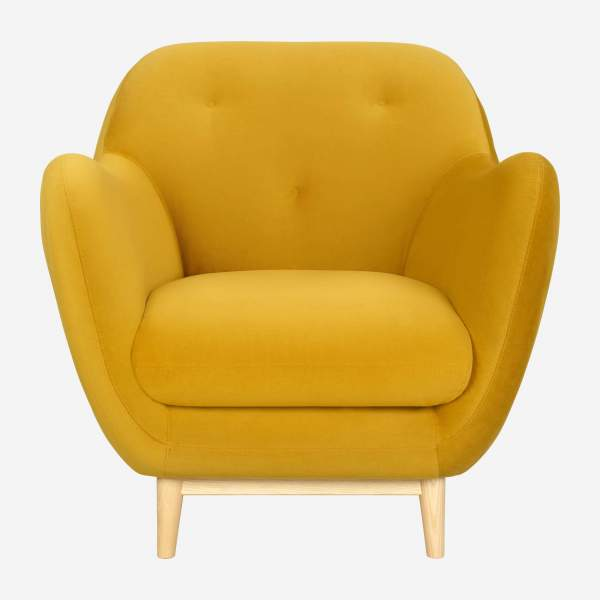 Fauteuil en velours jaune moutarde - Design by Adrien Carvès