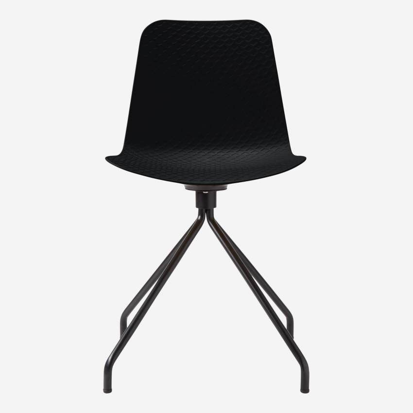 Black chair in polypropylene and lacquered steel legs