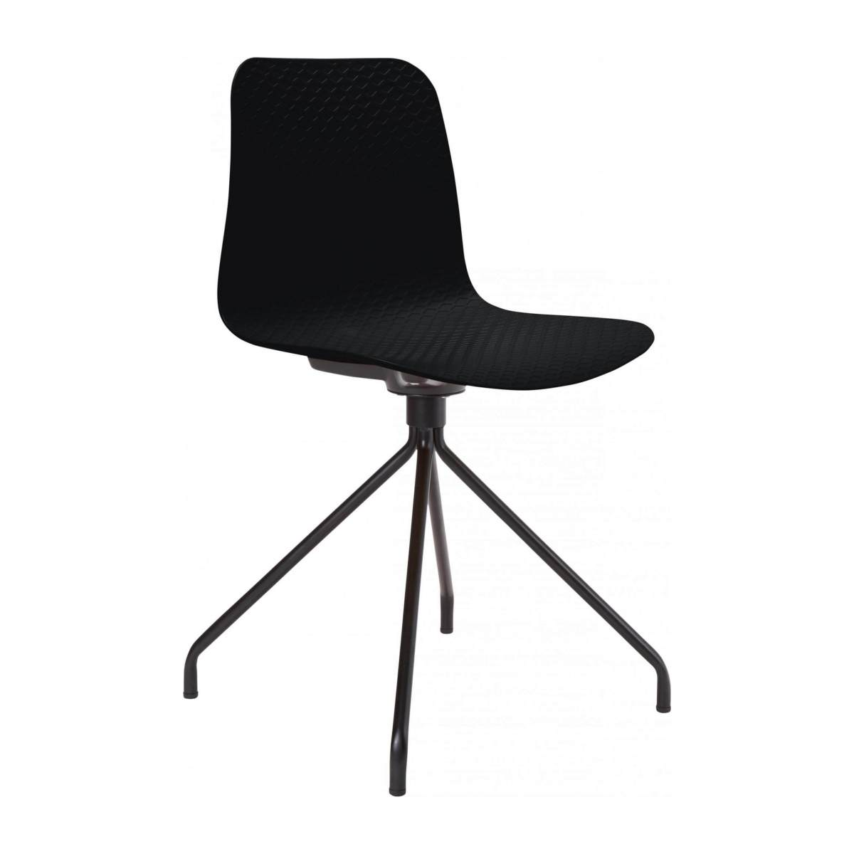 Black chair in polypropylene and lacquered steel legs n°2