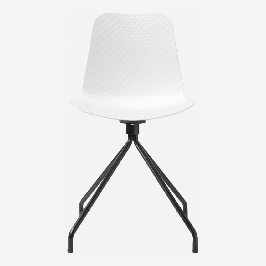 White chair in polypropylene and lacquered steel legs