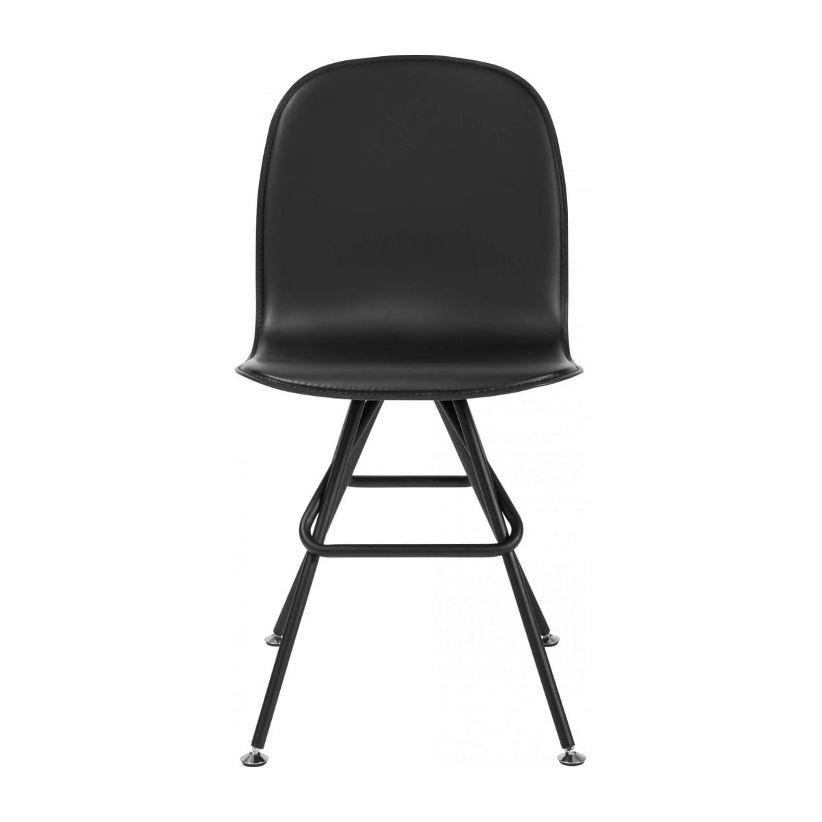 Chair with black faux leather cover and black steel legs n°1