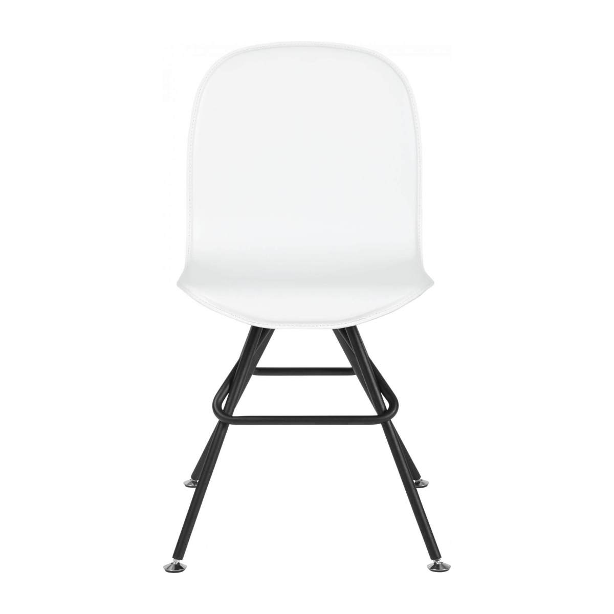 Chair with white faux leather cover and black steel legs n°1