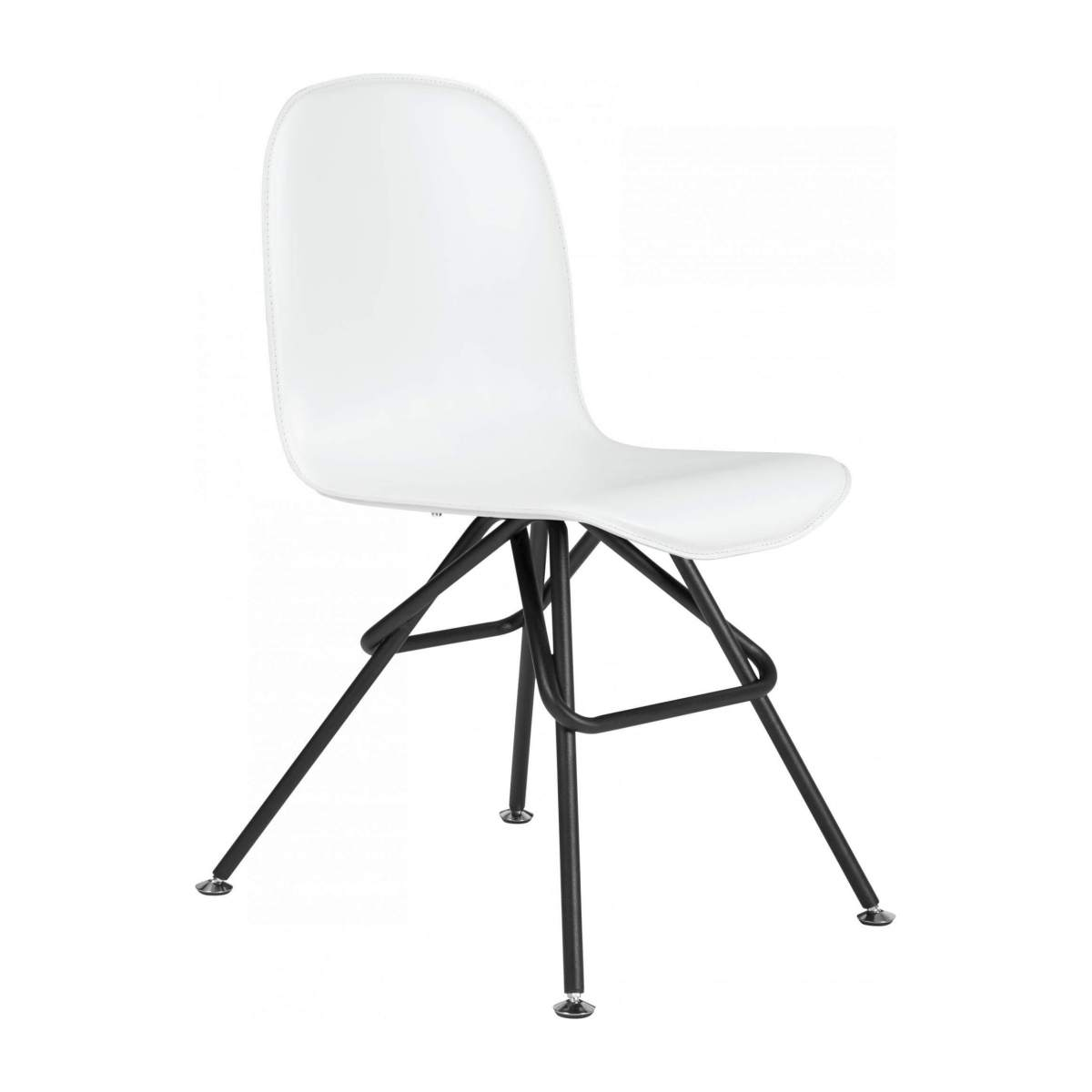 Chair with white faux leather cover and black steel legs n°2