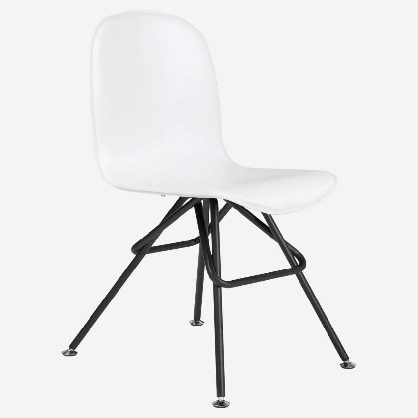 Chair with white faux leather cover and black steel legs