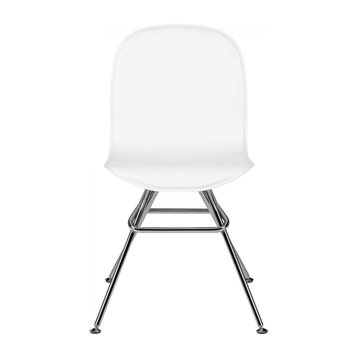 Chair with white faux leather cover and chrome steel legs n°1