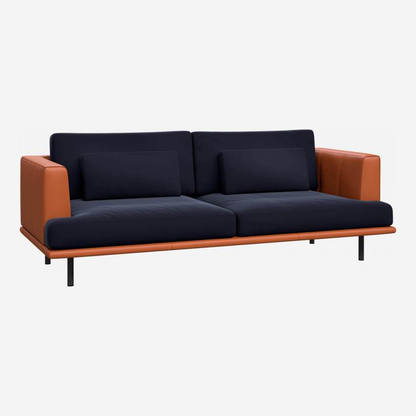 3 seater sofa in Super Velvet fabric, dark blue with base and armrests in brown leather