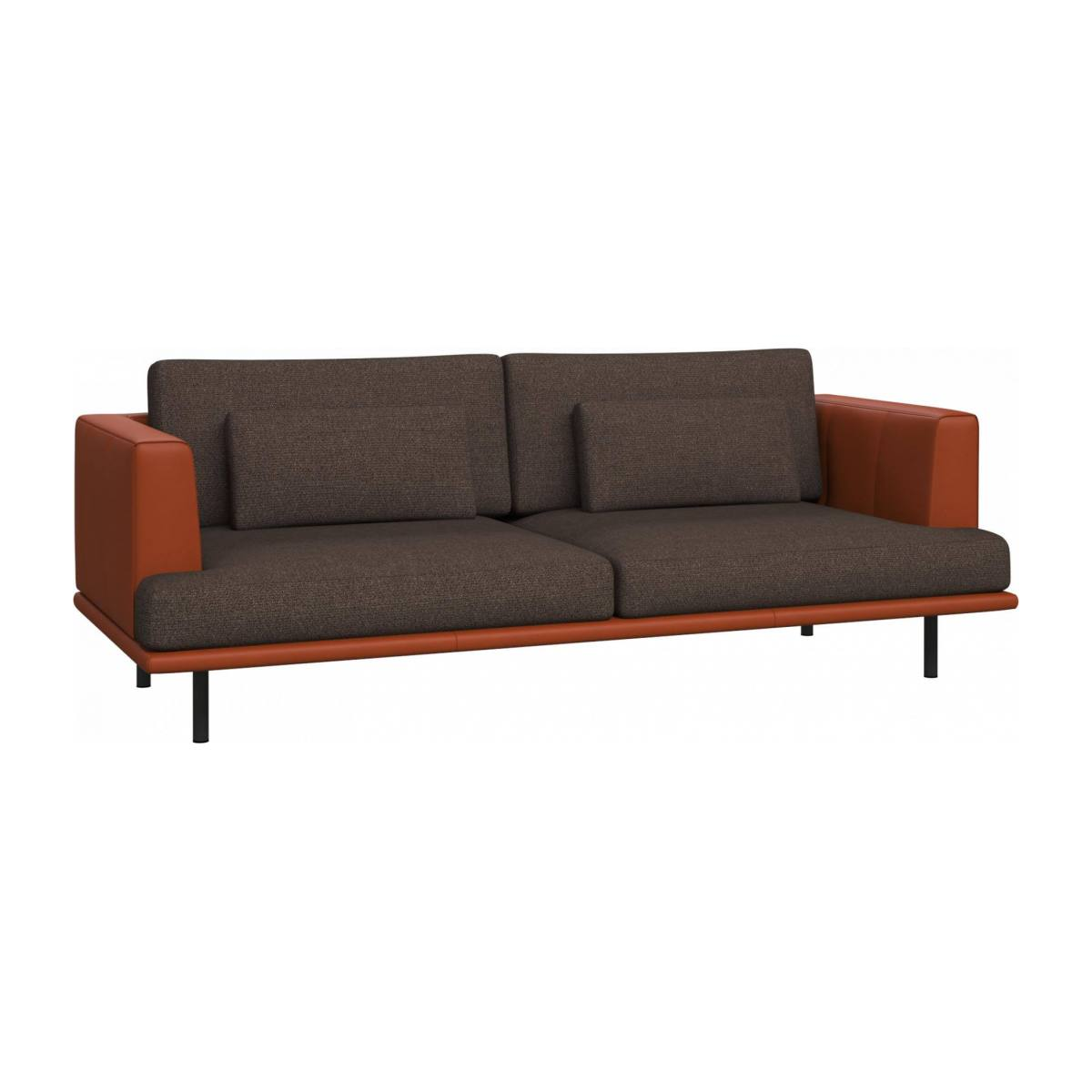 3 seater sofa in Lecce fabric, muscat with base and armrests in brown leather n°3