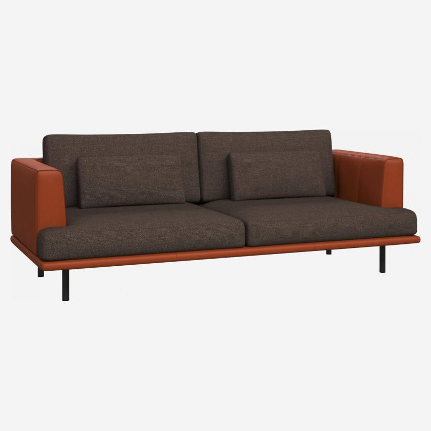 3 seater sofa in Lecce fabric, muscat with base and armrests in brown leather