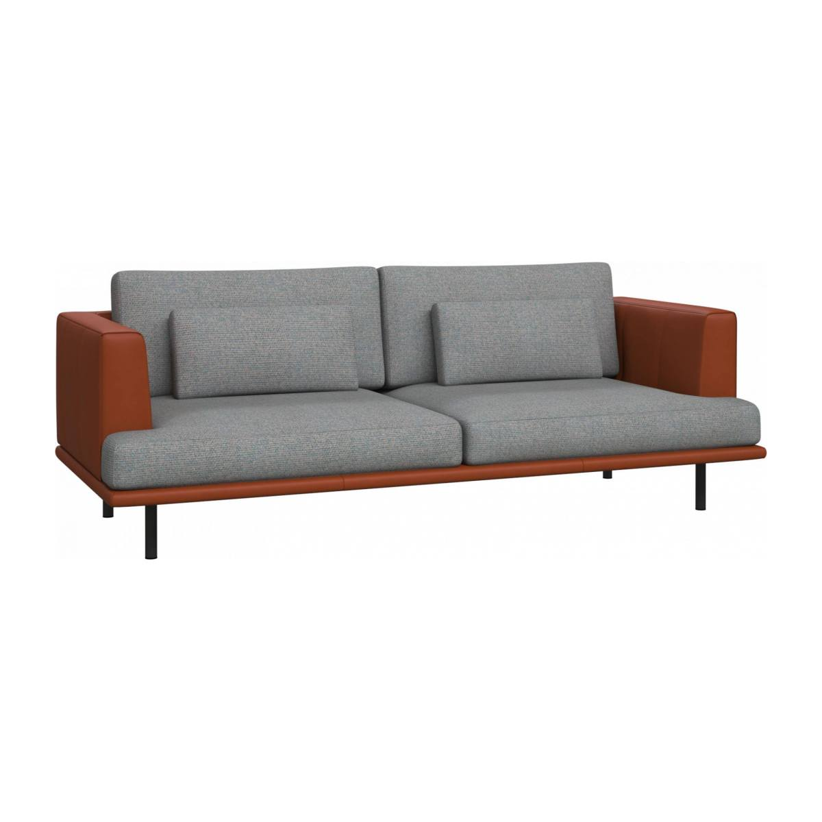 3 seater sofa in Lecce fabric, blue reef with base and armrests in brown leather n°3