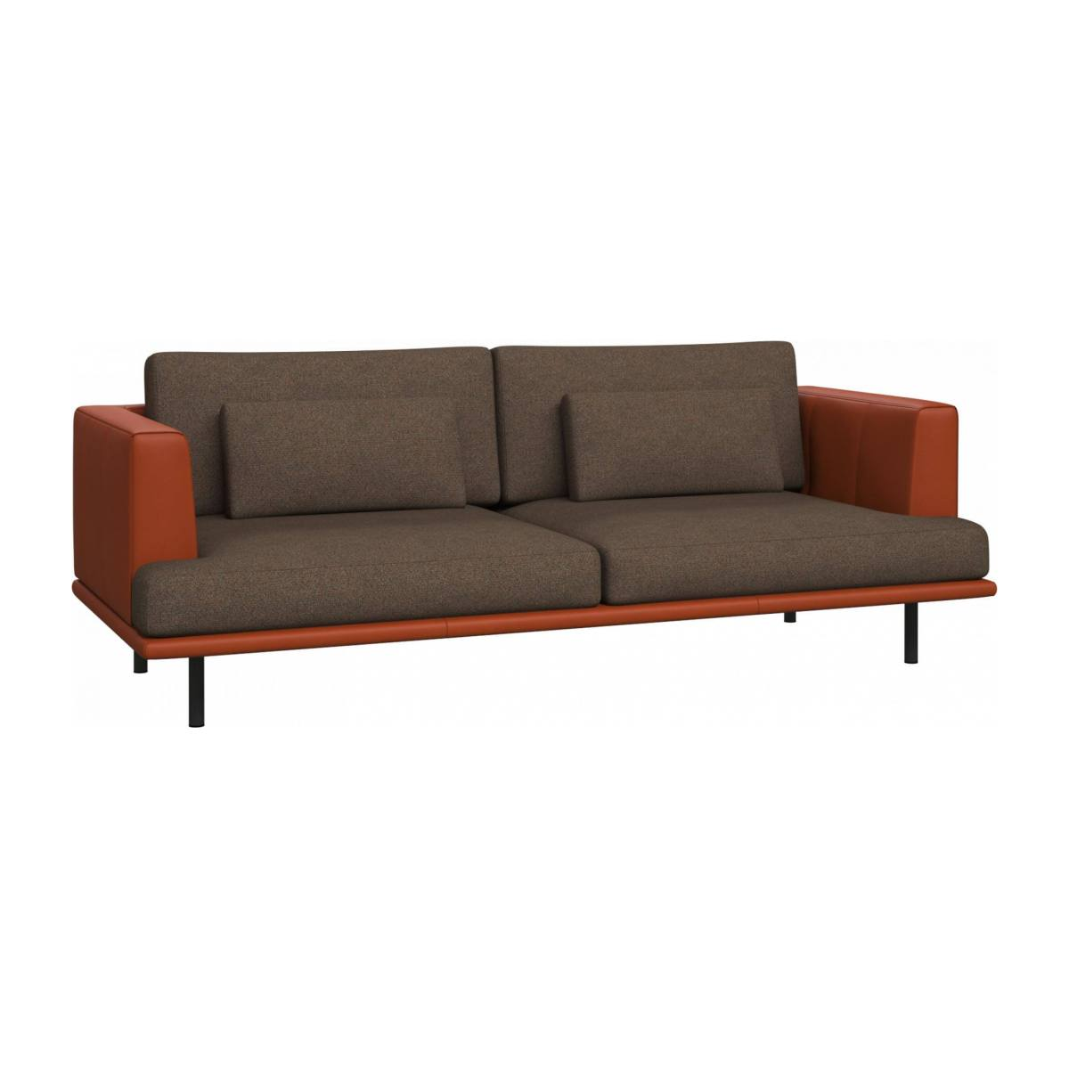 3 seater sofa in Lecce fabric, burned orange with base and armrests in brown leather n°3