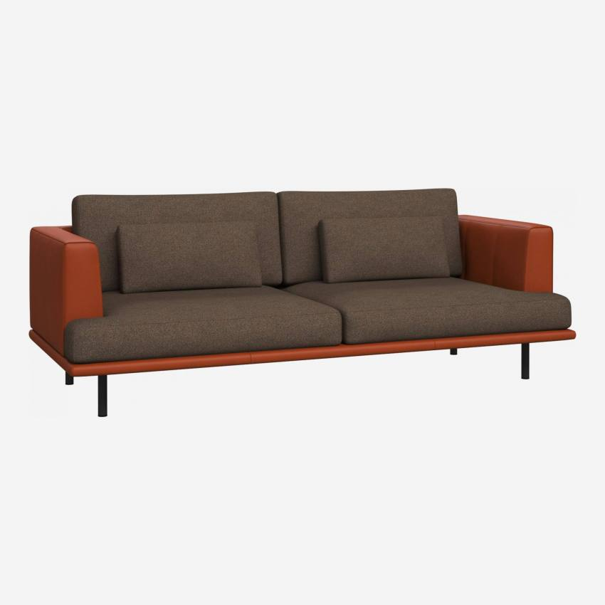 3 seater sofa in Lecce fabric, burned orange with base and armrests in brown leather