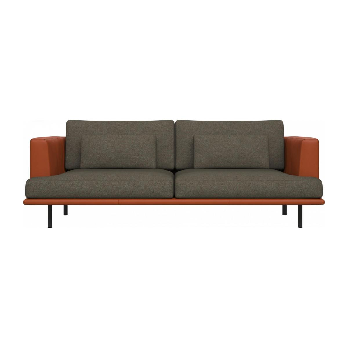 3 seater sofa in Lecce fabric, slade grey with base and armrests in brown leather n°1